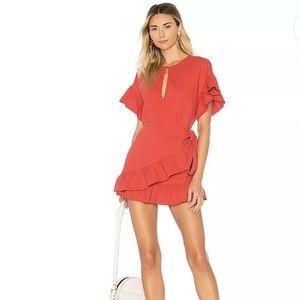 REVOLVE Tularose Linen Blend Jenny Dress Red